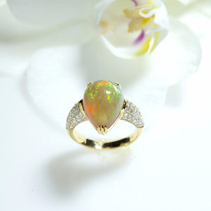 One Of A Kind Opal and Diamond Ring