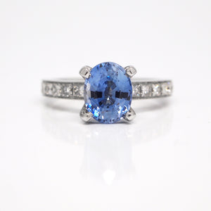 18K White Gold Natural, Unheated, Untreated Cornflower Blue Sapphire Engagement Ring