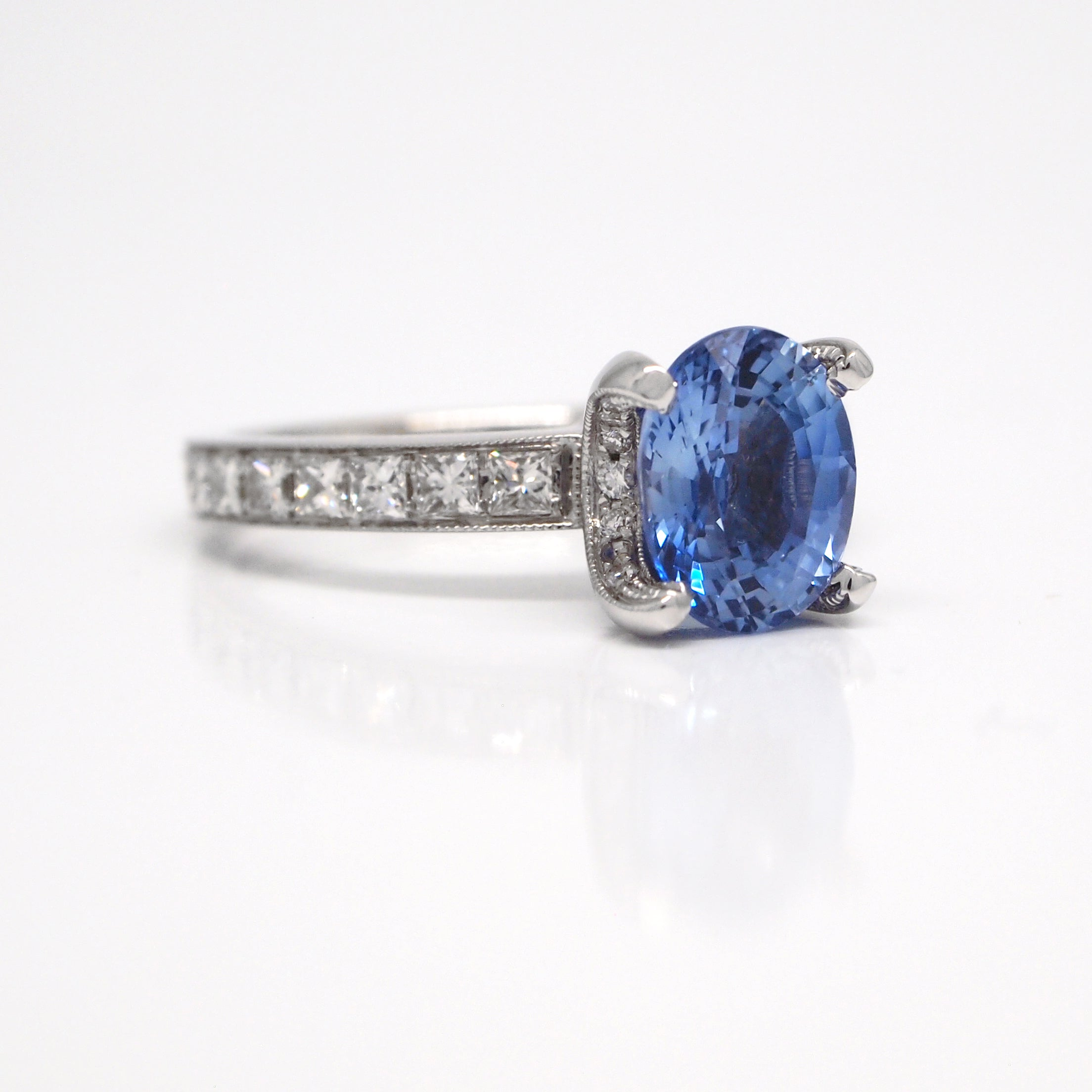 charm centres created diamond sapphire and cut blue engagement cushion product ring rings