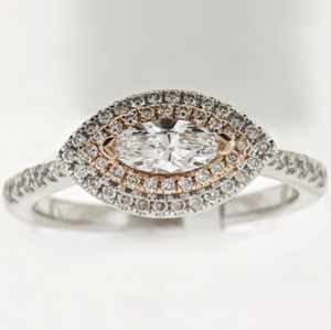 14K White Gold Double Halo Marquis Diamond Ring