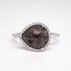 14K White Gold Rough Diamond Ring