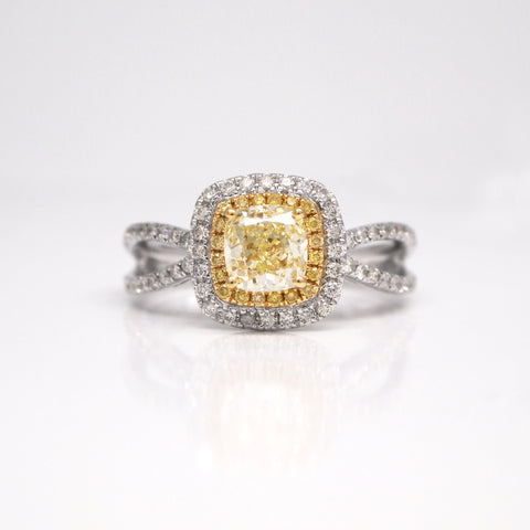 18K GIA Yellow Diamond Engagement Ring With Double Halo And Split Shank