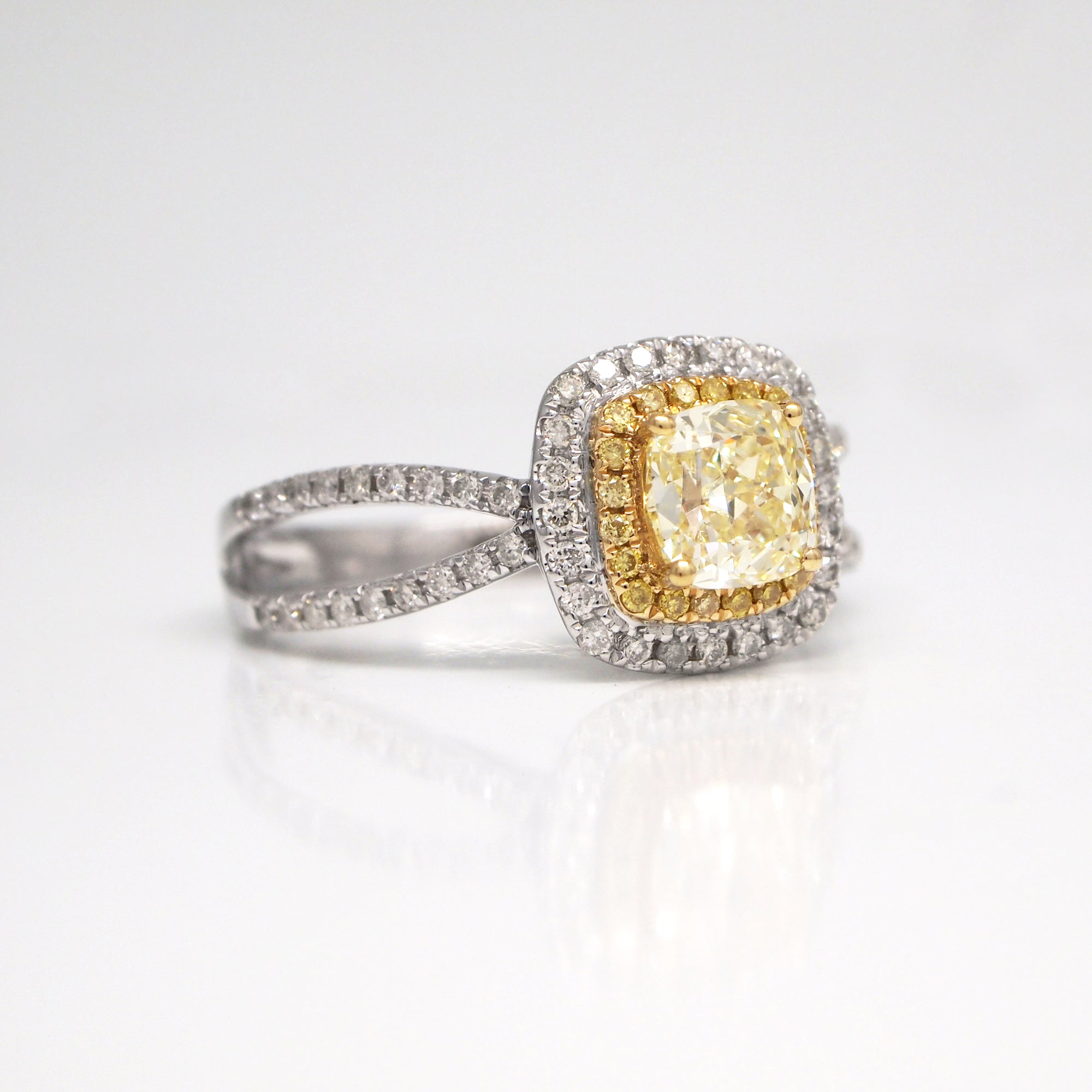 18K white gold split-shank yellow diamond engagement ring with GIA certificate