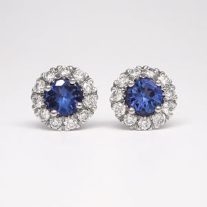 14K White Gold Tanzanite Earrings With Diamond Halo