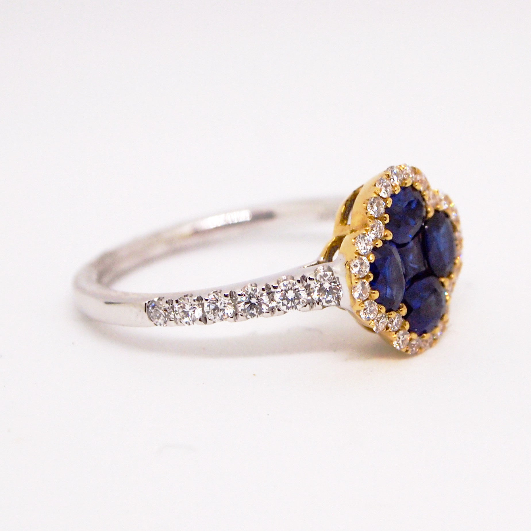 18K White And Yellow Gold Sapphire And Diamond Clover Ring
