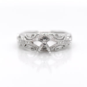 Antique Style 18K White Gold Diamond Engagement Ring