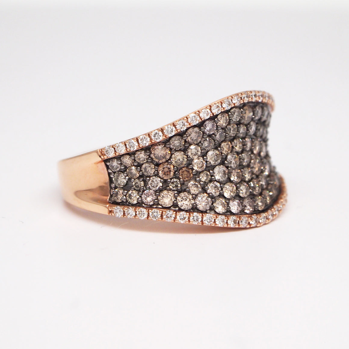 14K Rose Gold Cognac Diamond Ring