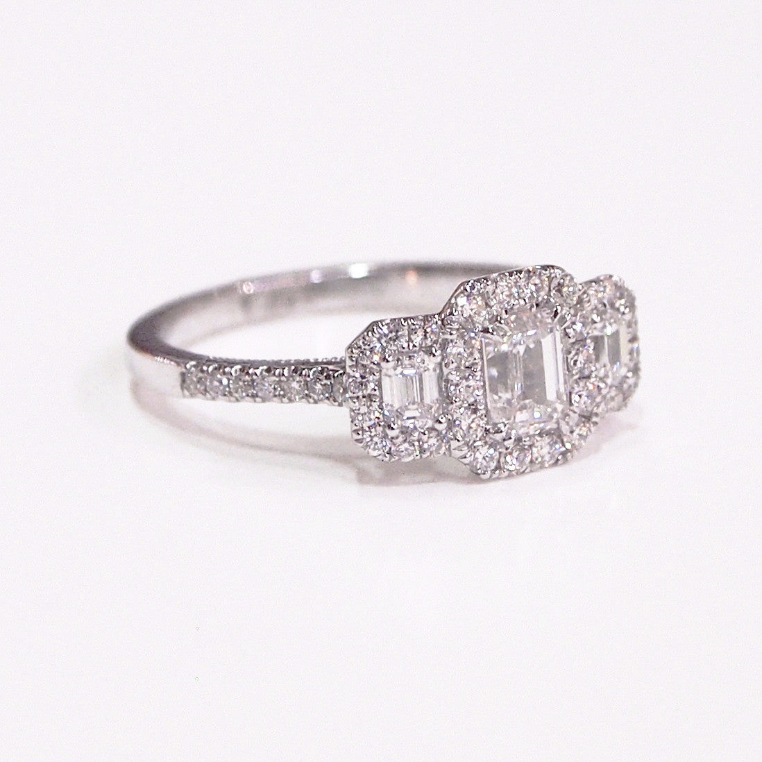 3-Stone Diamond Halo Engagement Ring