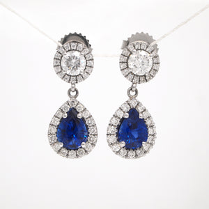 14K White Gold Pear Shaped Sapphire and Diamond Earrings