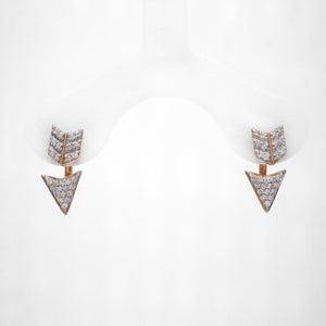 14K Yellow Two-Tone Diamond Arrow Earrings