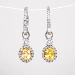 14K White Gold Natural Yellow Sapphire And Diamond Huggie Earrings