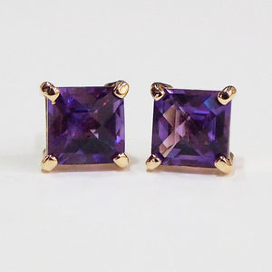 14K yellow gold amethyst earrings with two cushion-cut amethysts