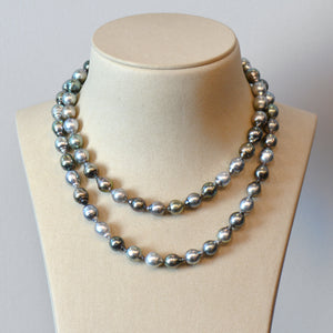 Tahitian Pearl Strand Necklace With 18K White Gold Clasp