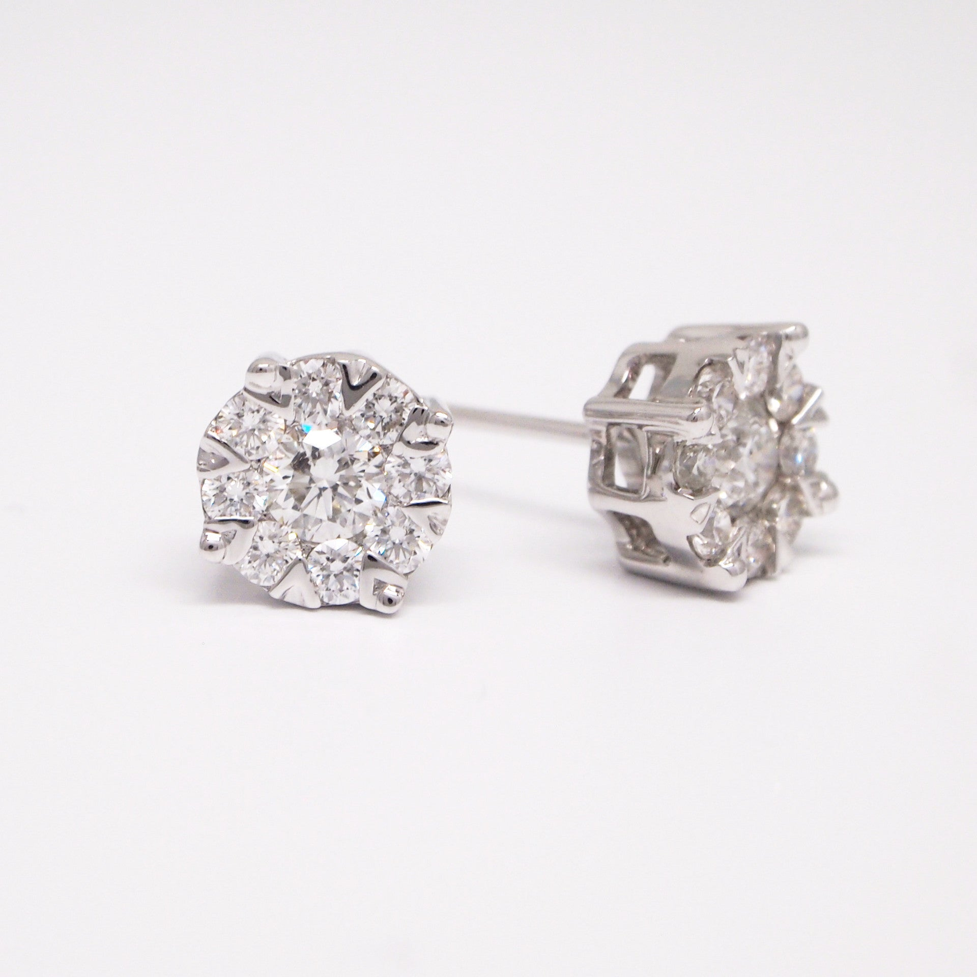 287c4ad14ee9d 14K White Gold Invisible Set Diamond Earring Studs - Judith Arnell ...