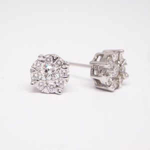 14K white gold diamond earring studs invisible with diamonds weighing a total of 1.01 carats.