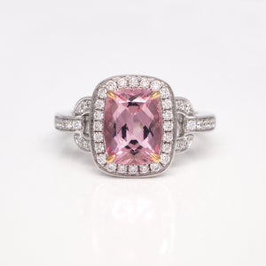 18K White Gold Morganite and Diamond Ring
