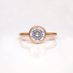 18K Rose Gold Bezel Diamond Engagement Ring