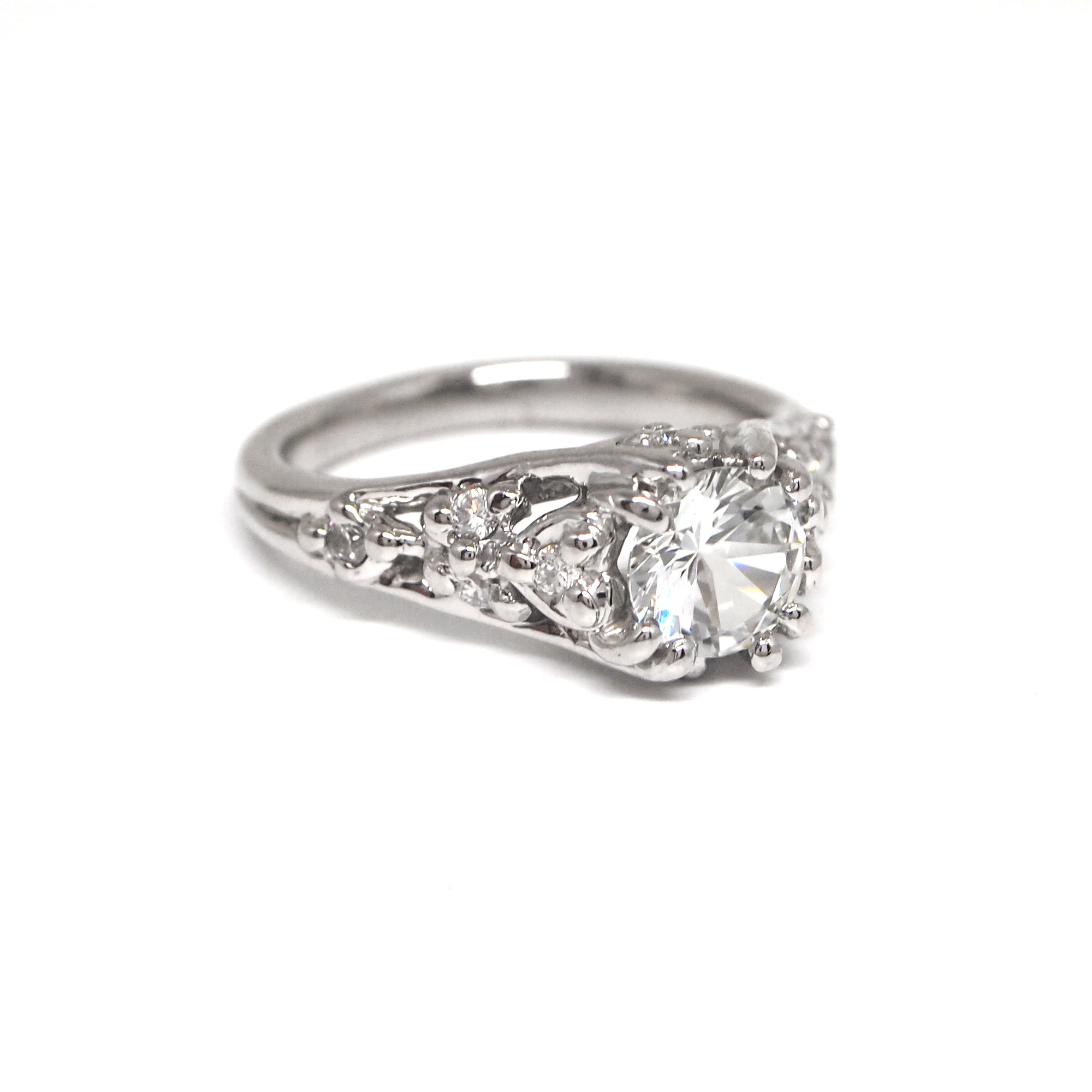 Platinum White Sapphire Antique Style Engagement Ring