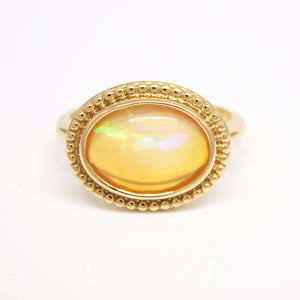 18K Yellow Gold Bezel Set Opal Ring