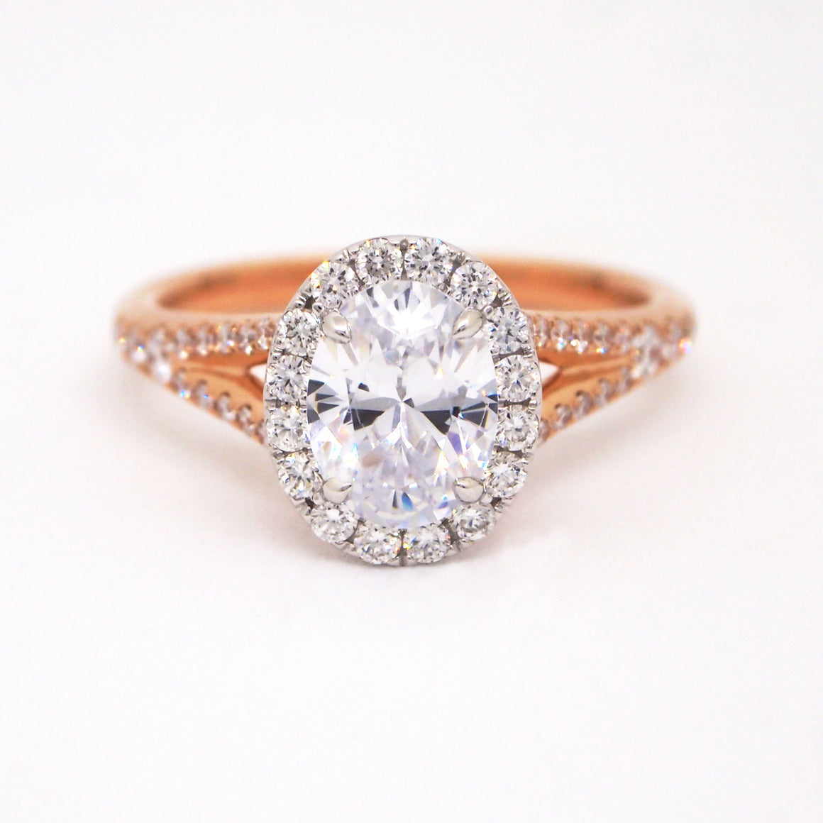 Point Of Love 18K Rose Gold Oval Diamond Engagement Ring With Pink Sapphire Point
