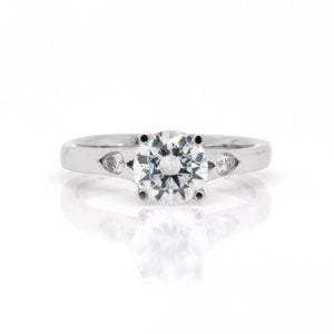 18K White Gold Diamond Tulip Engagement Ring