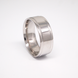 14k white gold 8mm man's wedding band featuring a high polish finish with rolled edges.