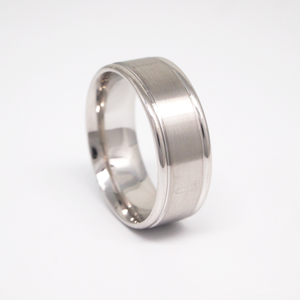 14k white gold 8mm man's wedding band featuring a satin center with bright rounded edges.