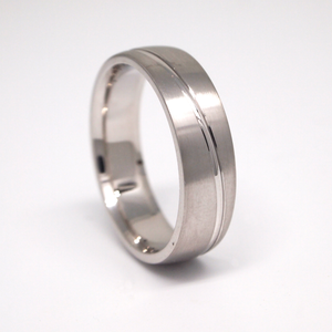 14k white gold 6mm man's wedding band featuring a satin finish with an elliptical channel.