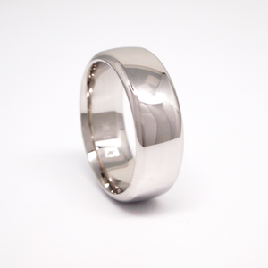 14K white gold heavy weight 8mm men's wedding band featuring a low dome and high polish finish.