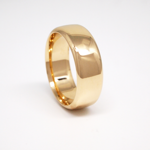 14K yellow gold heavy weight 8mm men's wedding band featuring a low dome and high polish finish.