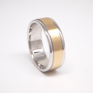 14K yellow and white gold 7mm men's wedding band featuring a satin finish center