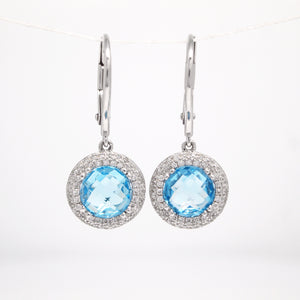 14K White Gold Blue Topaz Earrings With Diamond Halo