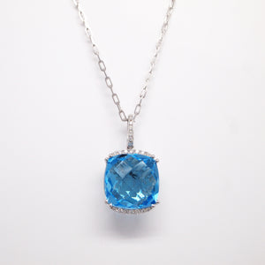 14K White Gold Blue Topaz And Diamond Pendant