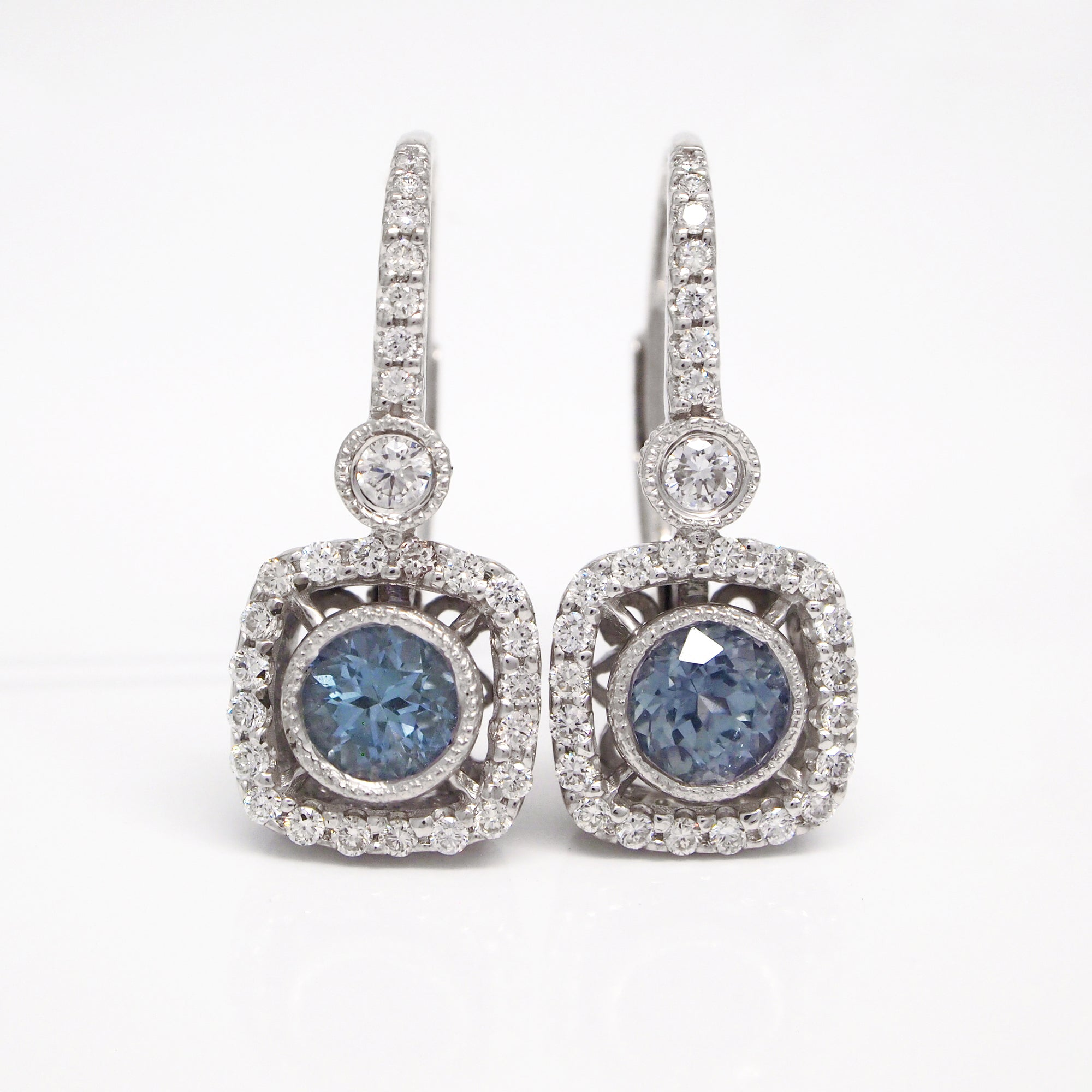 14K White Gold Ceylon Sapphire And Diamond Filigree Milgrain Earrings
