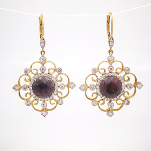 14K Yellow Gold Rough Cut Sapphire And Diamond Earrings