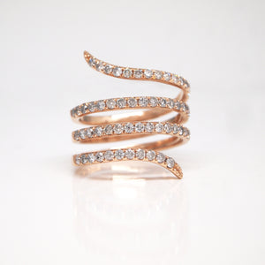"14K Rose Gold Diamond Spiral ""Snake"" Band"