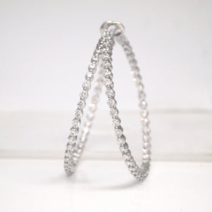 14K White Gold Diamond Eternity Hoop Earrings