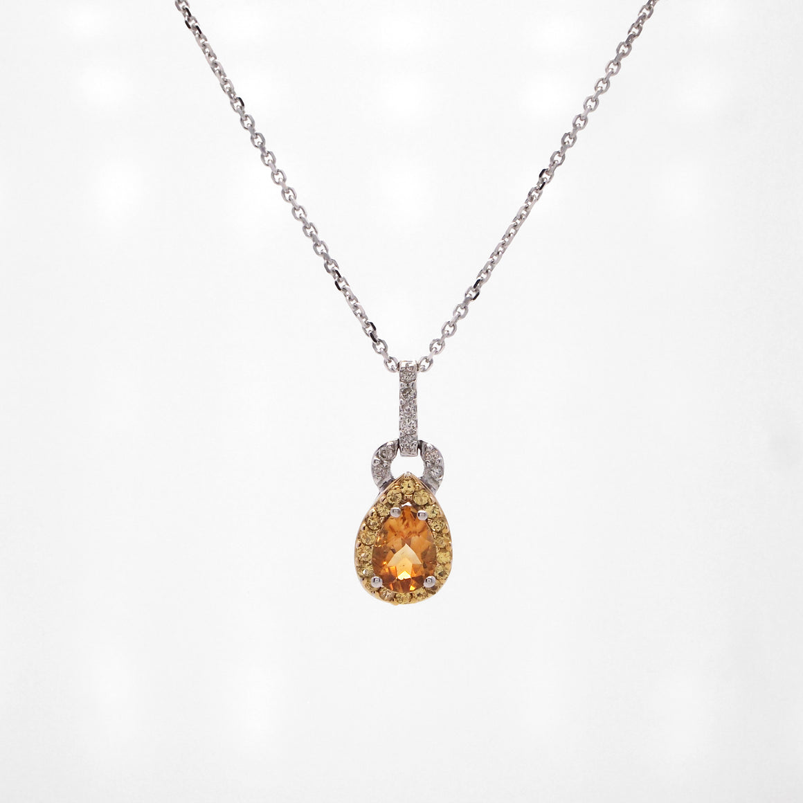 14K/18K White Gold Citrine And Sapphire Pear Necklace