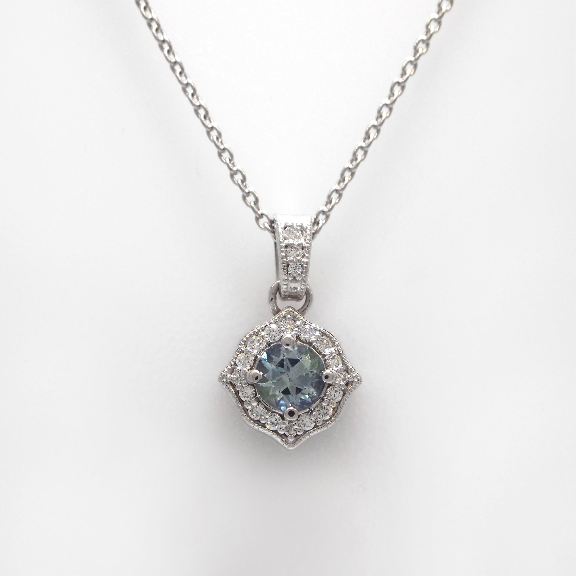 14K White Gold Natural Unheated Pastel Sapphire And Diamond Necklace