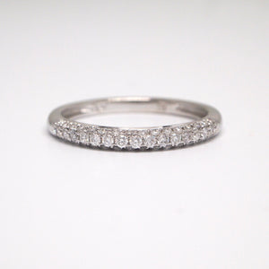 14K White Gold Pave Diamond Wedding Band