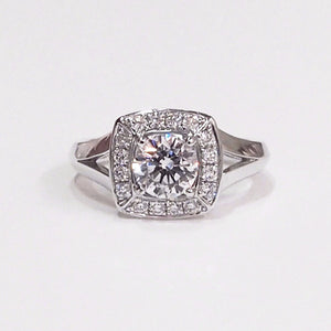 18K white gold semi-mount engagement ring with 16 full-cut diamonds
