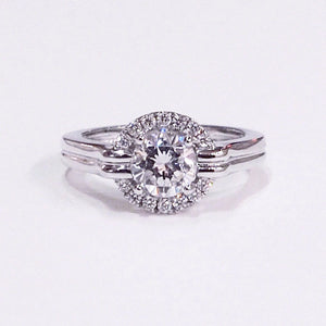 Frederic Sage 18K white gold semi-mount ring with 14 round brilliant-cut diamonds