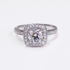 18K white gold semi-mount engagement ring with 36 full cut diamonds