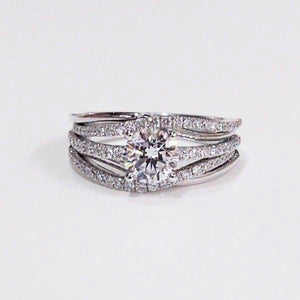 "18K white gold ""Swivel"" semi-mount engagement ring with 78 full cut diamonds"