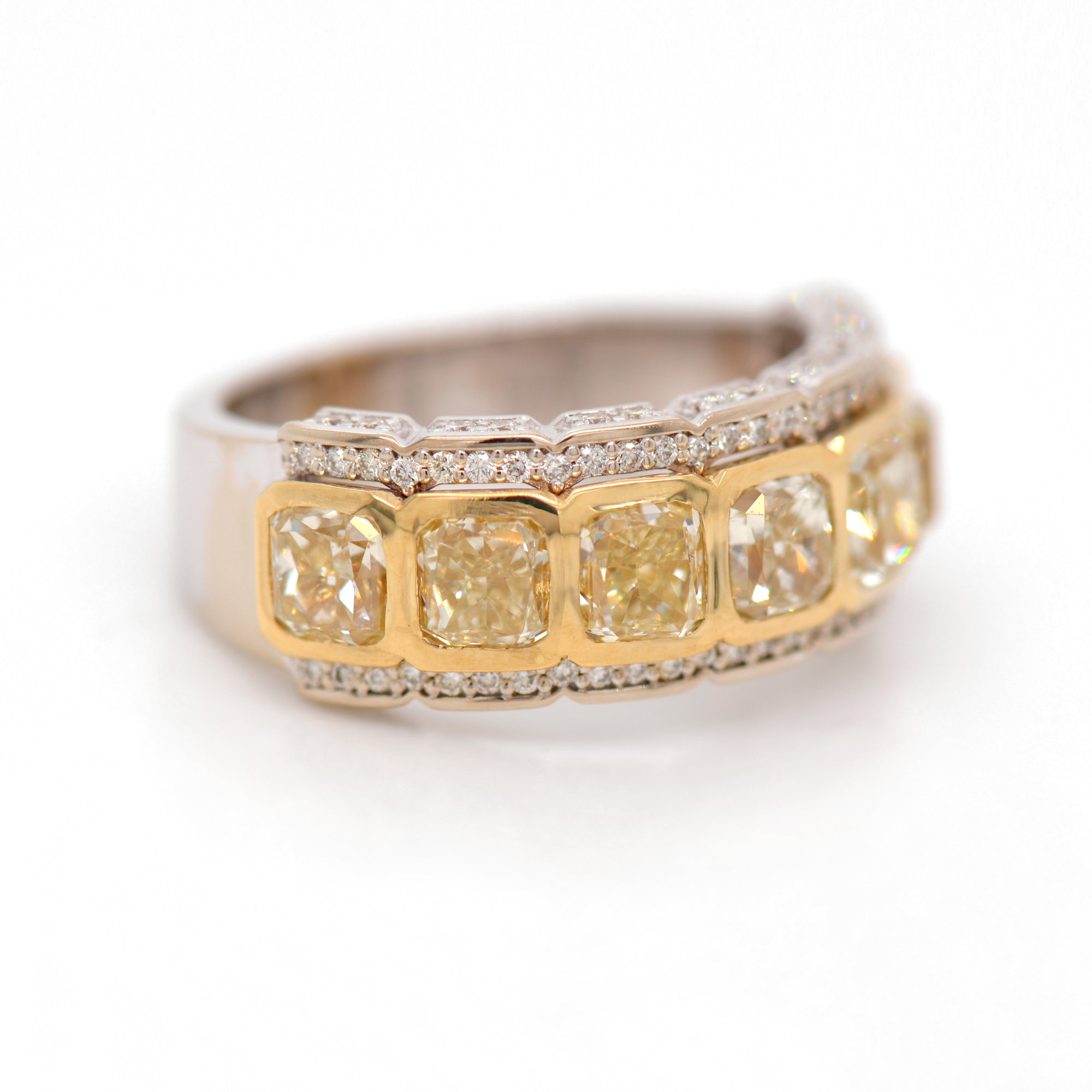 18K 7-Stone Radiant Yellow Diamond Ring