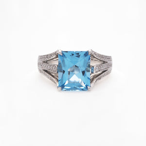 18K White Gold Blue Topaz And Diamond