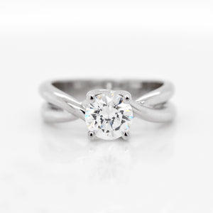 14K White Gold Twist Engagement Ring