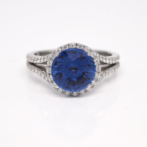 Platinum Round Sapphire Split Shank Halo Engagement Ring