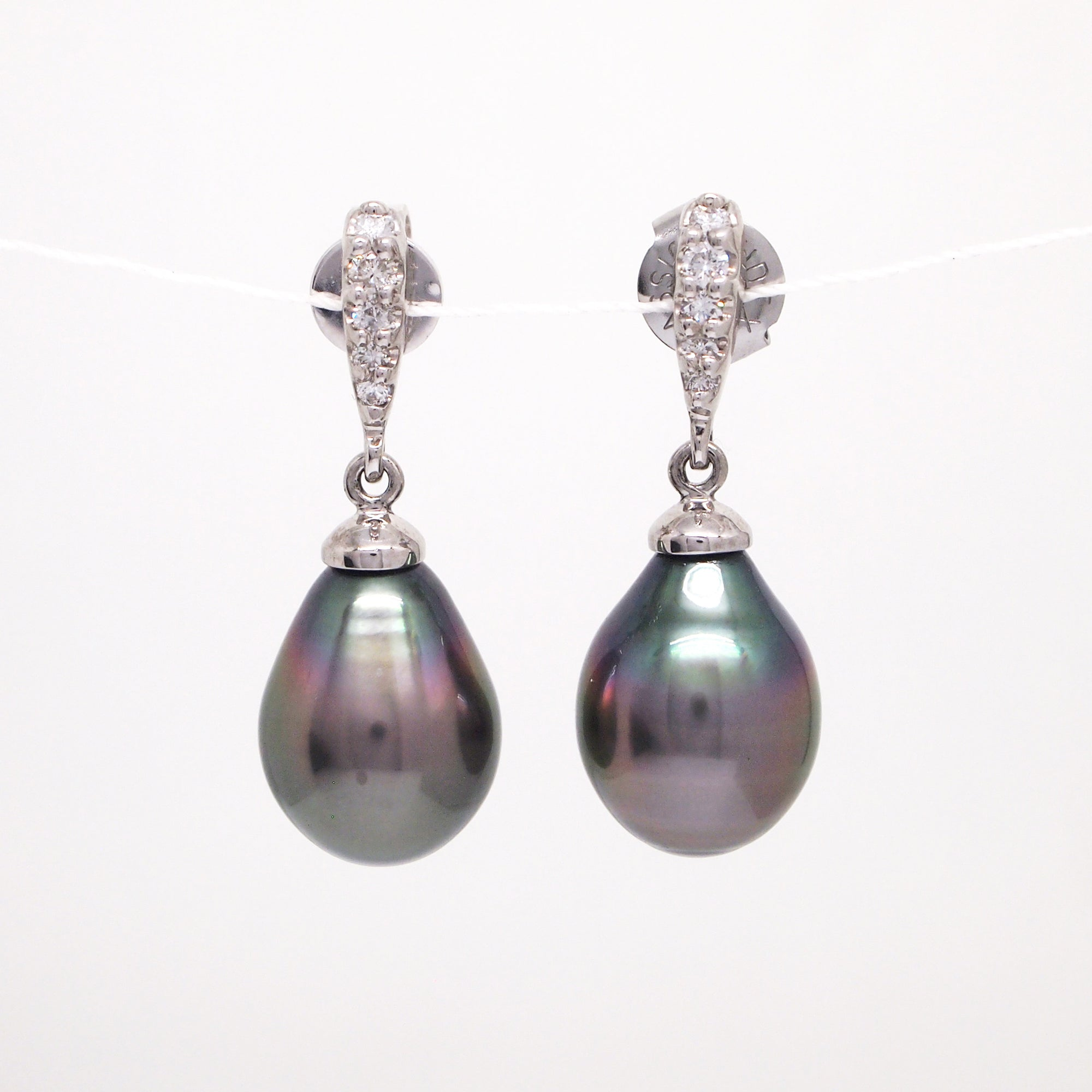 14K White Gold Tahitian Pearl And Diamond Drop Earrings