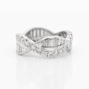 Platinum Baguette And Round Diamond Eternity Band